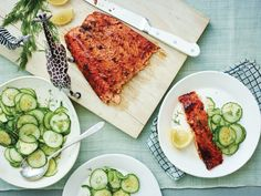 Ginger Salmon with Sesame Cucumbers  - Delish.com