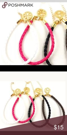 🌸NEW🌸 Adjustable Leather Braided Bracelets 🌸 This beautiful leather braided charm bracelets, its adjustable. Comes in pink, white and black. $15   🌸 Please ask all your questions before you purchase. I'm happy😊 to help  🌸 Sorry, no trades or hold. 🌸 Please, no lowball offers. 🌸 Please use the Offer Button 🌸 Bundle for your best prices 🌸 Ships next day, if possible 🎀 Thank you for visiting my closet 🎀 LOVE CHARM Jewelry Bracelets