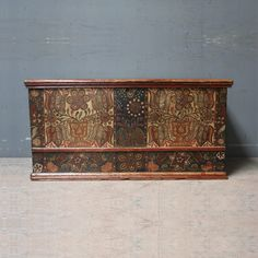 An antique pine box or dowry trunk. Marriage Trunk