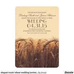 elegant rustic wheat wedding invitations Wheat wedding invitations for your beautiful rustic wedding. Warm, cozy and simple invites for rustic country fall and summer weddings. These wheat wedding invitations looks good with any corner style and paper type.