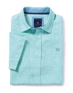 Men's Banstead Short Sleeve Shirt in Aqua Sky from Crew Clothing