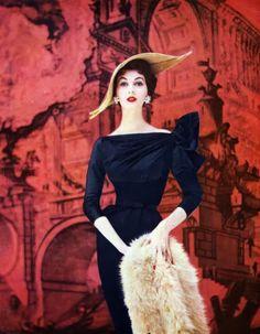 vintage fashion 1965 | Dovima wearing leaf-inspired hat