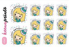A567 | HAPPY BIRTHDAY Keenari Repositionable Stickers Perfect for Erin Condren Life Planner, Filofax,Plum Paper,Happy Planner scrapbooking
