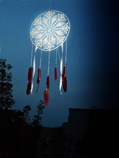 White dream catcher crochet doily wall hanging, burgundy red feathers, crochet dreamcatcher, big, long, bedroom