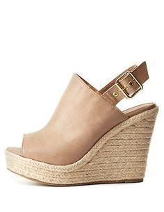 Peep Toe Slingback Wedge Sandals: Charlotte Russe