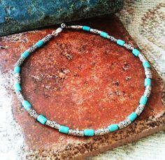 Turquoise Tube Bead Ankle Bracelet