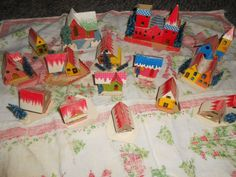 Vintage Christmas Cardboard Mica Putz Village Houses 15  Bottle Brush Trees