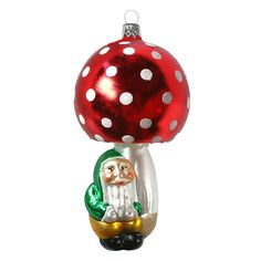 Large Blown Glass Red Mushroom and Gnome Ornament ~ Czech Repub. Blown Glass Christmas Ornaments, Gnome Ornaments, Vintage Ornaments, Christmas Bulbs, Christmas Stuff, Christmas Ideas, Bohemian Christmas, Vintage Christmas, Stuffed Mushrooms