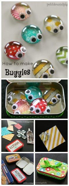 Could be awesome to make and leave on an aleph table! How to make this cute bug craft with kids! BUGGLES. How cute. Altoid Tin Reuse Bug Craft Toy
