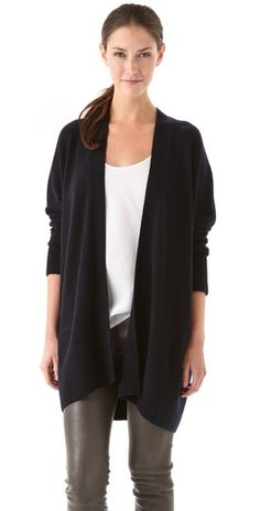 Vince Rib Trim Cardigan with silk tank and leather zip legging
