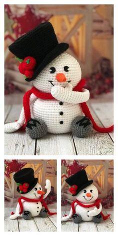 Crochet Snowman, Crochet Ornaments, Crochet Crafts, Crochet Projects, Crochet Snowflakes, Santa Ornaments, Holiday Crochet Patterns, Crochet Amigurumi Free Patterns, Christmas Knitting Patterns