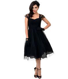 792e2b0f419 Preorder - Unique Vintage Black Swiss Dot Garden State Mesh Dress  138.00  AT vintagedancer.com
