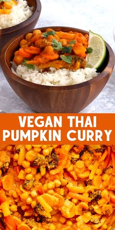 This easy Thai Pumpkin Curry is a delicious vegan meal. You will love the creamy combination of coconut milk, pumpkin pu Pumpkin Puree Recipes, Pureed Food Recipes, Curry Recipes, Indian Food Recipes, Healthy Dinner Recipes, Whole Food Recipes, Vegetarian Recipes, Cooking Recipes, Vegan Vegetarian