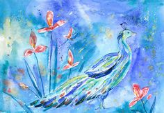 "Olga Pavlova.Joy of Creation.: ""Peacock"". Watercolor painting."
