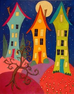 Modern Folk Art Landscape Houses Original Painting J by jblake