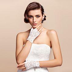 Chic Lace Fingerless Wrist Length Wedding/Evening Gloves – USD $ 4.47
