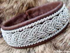 Lapland Swedish Reindeer Leather Pewter Braid Sami Bracelet with Antler Button - Antique Brown - Grane - Handcrafted Natural Tribal Elegance...