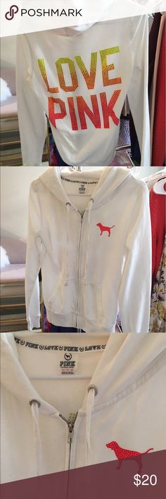 VS Pink Sweatshirt Victoria's Secret PINK zip up sweatshirt. Worn a few times. Good condition!                                 •n o  t r a d e s• •s m o k e  f r e e / p e t  f r e e  h o m e•   •s a m e / n e x t  d a y  s h i p p i n g• PINK Victoria's Secret Tops Sweatshirts & Hoodies