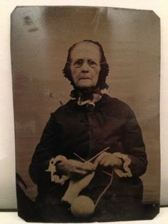 Antique Early Tintype of Old Woman Knitting