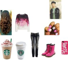 """""""olivia going to starbucks with her bf"""" by annawarbritton on Polyvore"""