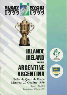 Official Program Rugby World Cup -1999. October 20 Match Ireland v/s Argtentina