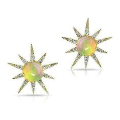 14kt yellow gold opal diamond starburst stud earrings ($599) ❤ liked on Polyvore featuring jewelry, earrings, diamond jewellery, gold jewellery, gold star earrings, diamond jewelry and yellow gold earrings
