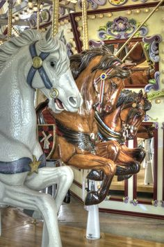 The Riverfront Carousel is located in Riverfront Park in Salem, Oregon along the Willamette River.  Built in 2001, it has horses that were hand carved from wood and painted by volunteers. The carousel is housed in a glass building. In the summer, the glass walls/doors are slid back. In the winter, the carousel is decorated for the holidays.  Each horse is decorated in a unique way and is given a name