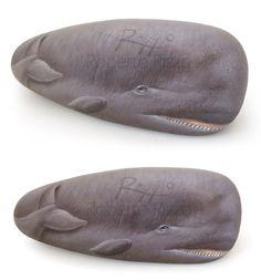 Sperm Whale - acrylic on rock by Roberto Rizzo   www.robertorizzo.com