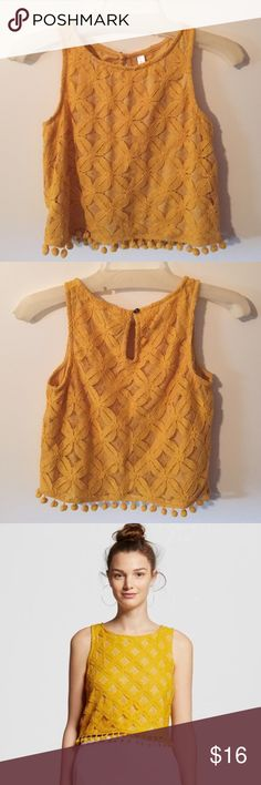 Yellow/mustard color crochet crop top with pompoms Yellow/mustard color crochet crop top with pompoms Xhilaration Tops Crop Tops