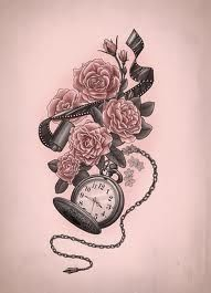 DESIGN: pocket watch, roses, film negatives