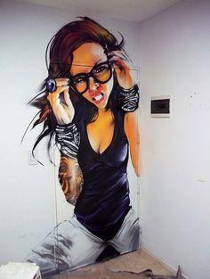 Graffiti Girl, Graffiti Murals, Murals Street Art, 3d Street Art, Art Mural, Doodle Art Drawing, Graffiti Drawing, Banksy, Grafitti Street