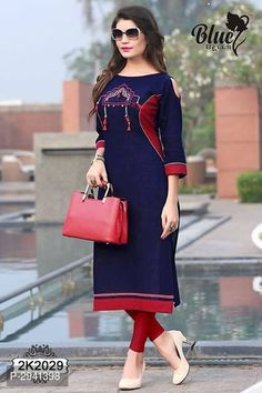 Navy Blue Color, Quarter Sleeve, Beautiful Dresses, Cold Shoulder Dress, Dresses For Work, Tunic Tops, Fancy, Stylish, How To Wear