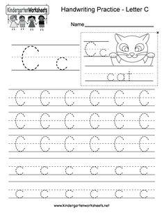 Letter C Writing Practice Worksheet - Free Kindergarten English Worksheet for Kids