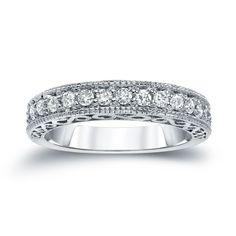 Auriya 14k White Gold 3/5ct TDW Round Cut Diamond Milgrain Ring (H-I, SI2-SI3) (White Gold - Size 7), Women's