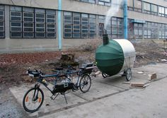 H3T Architects 'bike sauna', a transportable sweat lodge pulled by a tandem bicycle