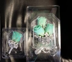 Items similar to Corsage Sets for Prom, Wedding, etc. on Etsy Mint Blue, Blue Gold, Black Silver, White Gold, Black Corsage, Wristlet Corsage, Mother Of The Bride Gown, Cascade Bouquet, Prom Flowers