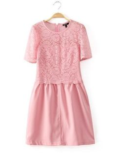 NEW ARRIVAL FASHION LADIES' ROUND NECK WAS THIN STITCHING LACE DRESS ST698