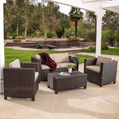 Outdoor Patio Furniture Brown PE Wicker 4pcs Sofa Seating Set #GreatDealFurniture