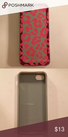 iPhone 5 cell phone case Hot pink and taupe Marc Jacobs soft iPhone case. Def an uncommon one that I love! Used lots but the material is great and doesn't show any wear! Make me an offer! Marc Jacobs Accessories Phone Cases