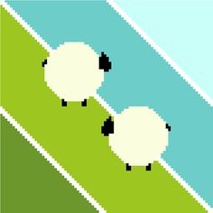 This cross stitch pattern of grazing sheep is just the cutest! An easy project to stitch, this is one of CrossStitchtheLine series of patterns of minimalist patterns for the nursery and children's rooms.