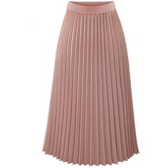 Plain Elastic Waist Chiffon Pleated Maxi Skirt (115 PEN) ❤ liked on Polyvore featuring skirts, long maxi skirts, brown maxi skirt, chiffon maxi skirts, maxi skirt and long pleated chiffon skirt