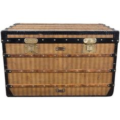 1870 Louis Vuitton Stripped Canvas Steamer Trunk | From a unique collection of antique and modern home accents at https://www.1stdibs.com/furniture/more-furniture-collectibles/home-accents/