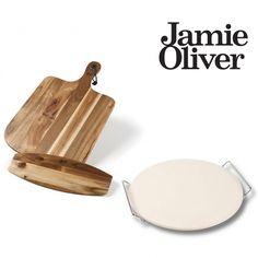 Komplet sæt med Jamie Oliver pizzabagesten og Pizzasæt  Pizzasæt: Pizza bræt & skærer fantastisk naturlig acacia pizza...