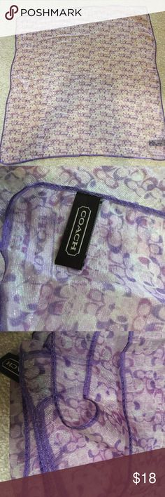 """Authentic COACH sheer scarf Authentic. Beautiful 20X20"""" sheer scarf, coach C logo. Last picture reflects the color better. Coach Accessories Scarves & Wraps"""