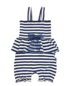 With its flare fit and playful stripes, this peplum romper is both sea and land worthy. Little ones certainly won't have to go fishing for compliments in this fashionable piece.  RuffleButts Navy Fit & Flare Romper | www.RuffleButts.com