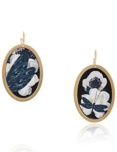 Gold Oval Cotton Dragonfly Earrings