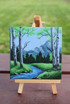 Along the Stream Mini Acrylic Painting 4 x 4 Mini Small Canvas Paintings, Small Canvas Art, Mini Canvas Art, Acrylic Painting Canvas, Mini Toile, Wine And Canvas, Summer Painting, Cool Art Drawings, Watercolor Art