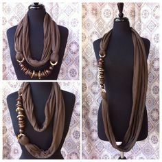 Chocolate, Brown/Beaded Infinity Scarf and Necklace, Upcycled, Multi Strand Jersey Infinity,Loop Circle Scarf Necklace, Fashion Accessory