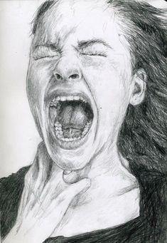 Screaming woman sketch - New Pin Sad Drawings, Dark Art Drawings, Pencil Art Drawings, Art Drawings Sketches, Screaming Drawing, Illusion Kunst, Scream Art, Woman Sketch, Portrait Sketches