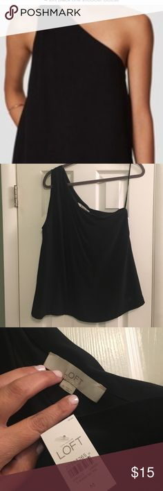 LOFT Black One Shoulder Blouse New with tags!! Adorable for summer!! Great shirt for going out! Size Medium. I'm 5'5 and it sits at waist. LOFT Tops Blouses